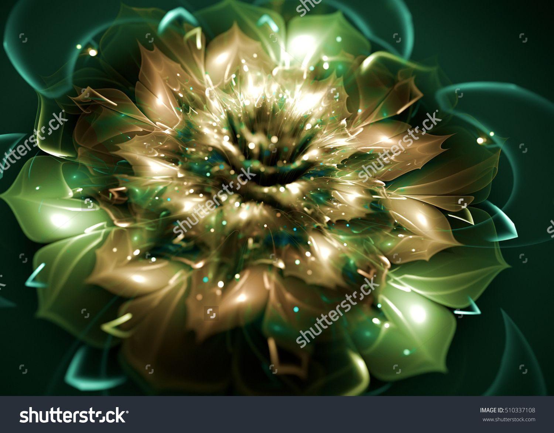 Fractal Shining Dahlia Flower  -  Fractal Art - 3D image