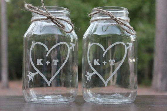 12 Quart Mason Jars Engraved Wedding Vases Personalized Center Pieces Rustic