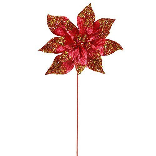 Felices Pascuas Collection 24 inch Crimson Red Glitter Beaded Poinsettia Flower Artificial Christmas Spray Pick