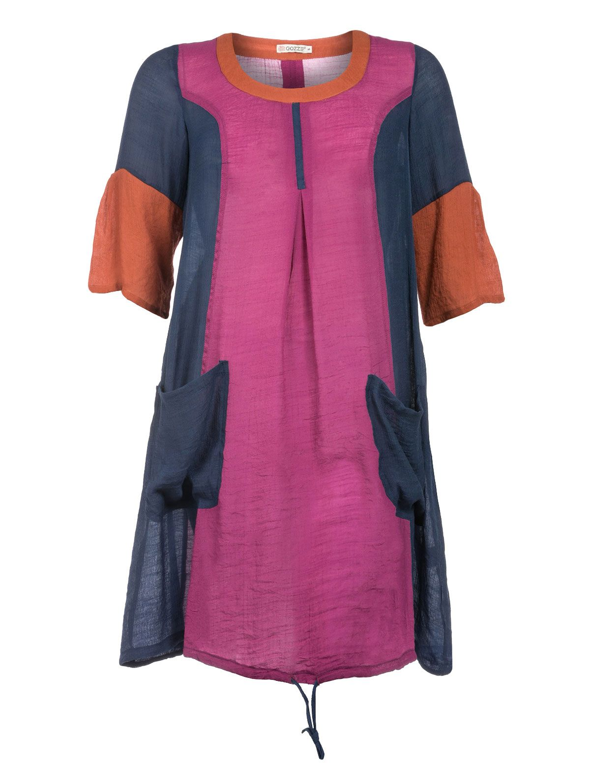 Navy pink and orange plus size dress - too casual ?