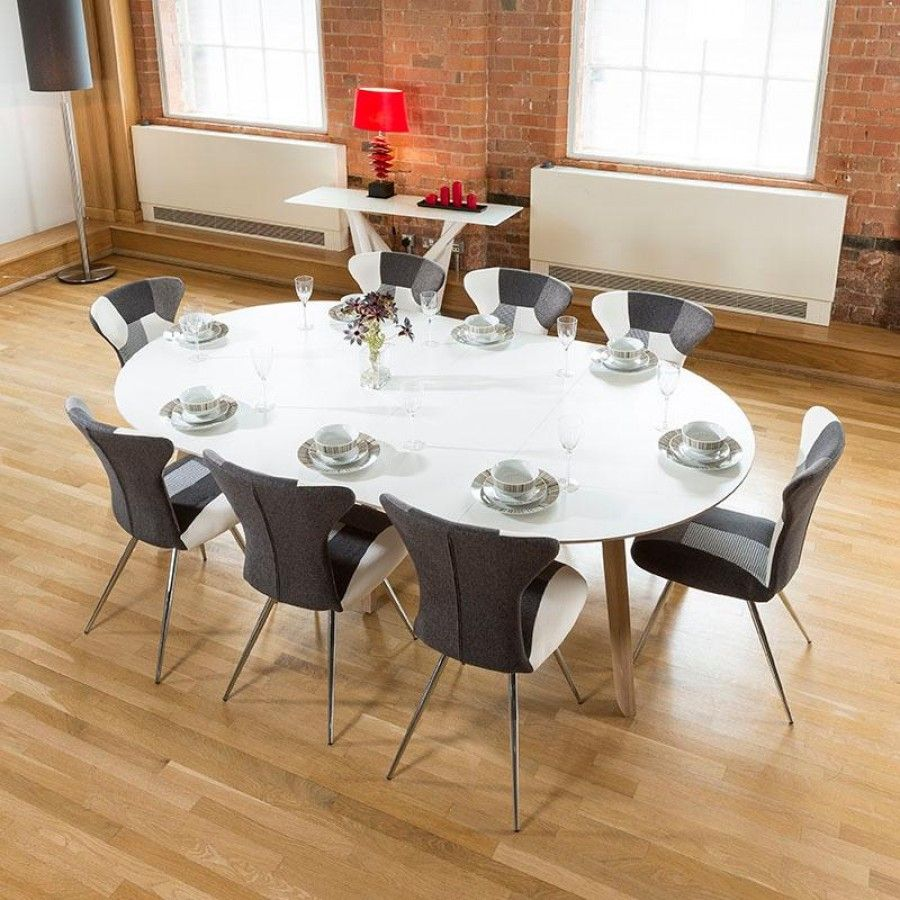 Large 140 X 240 Luxury White Oval Dining Table With 8 Patchwork