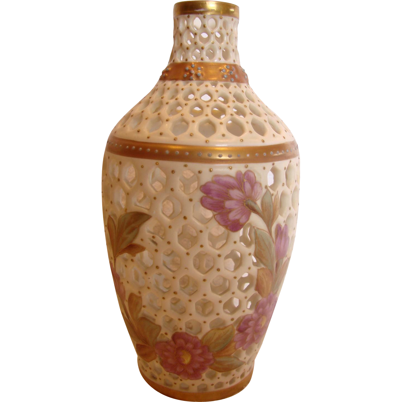 German New York Rudolstadt Pierced Porcelain Vase w Hand Painted Purple Lavender Dahlias c 1887