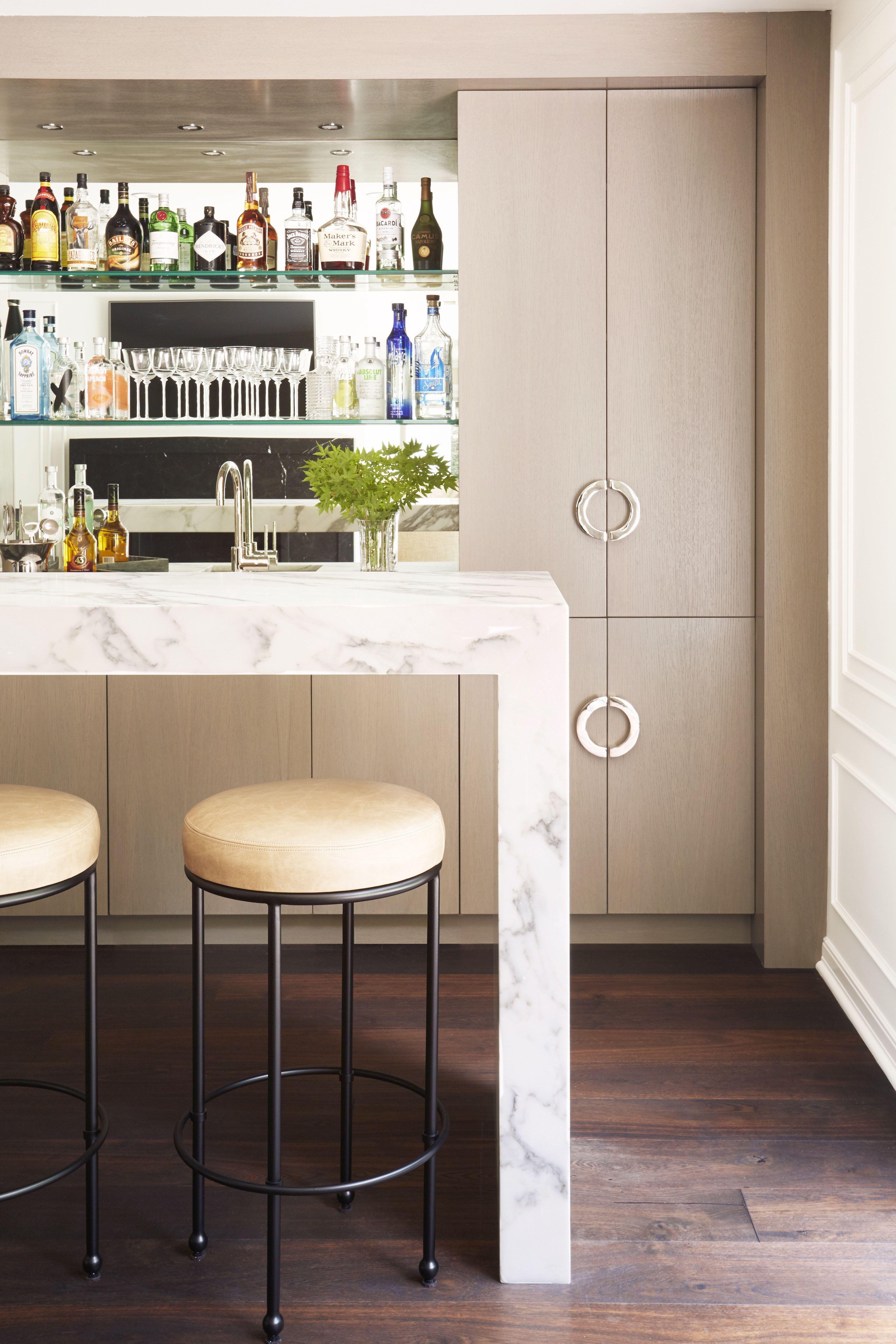 Home Bar Lounge With Custom Rift Oak Backbar