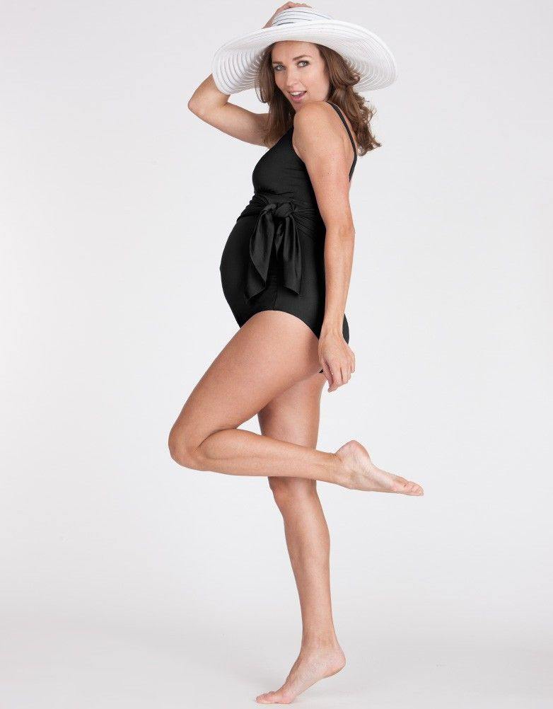 80c1d69bcbb3e Black Multiway Maternity Bathing Suit | Seraphine | BEACH GETAWAY ...