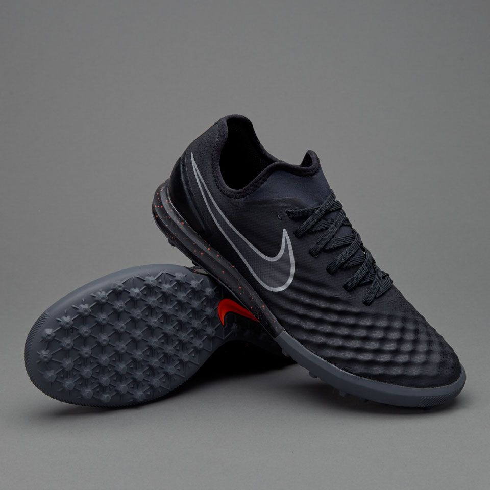 Nike MagistaX Finale II TF - Mens Soccer Cleats - Turf Trainer -  Black/Total Crimson/Gum Light Brown