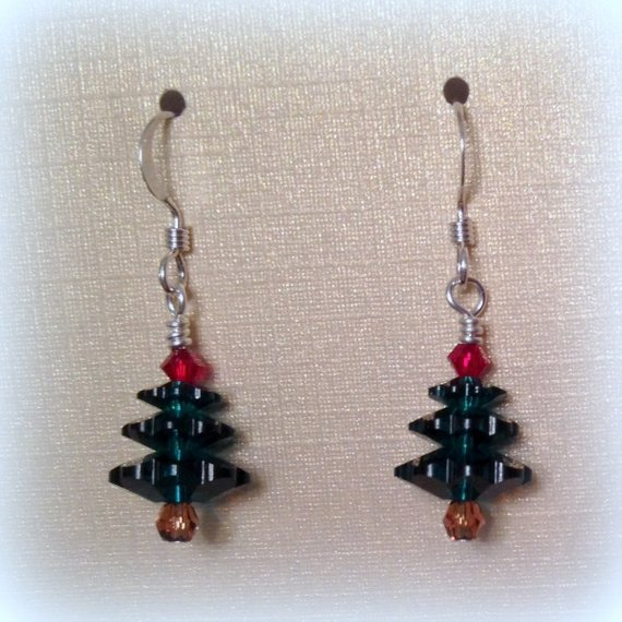 7cbead907 Swarovski Christmas Tree Earrings, Emerald Red & Topaz Christmas Tree  Earrings, Christmas Gift Earri