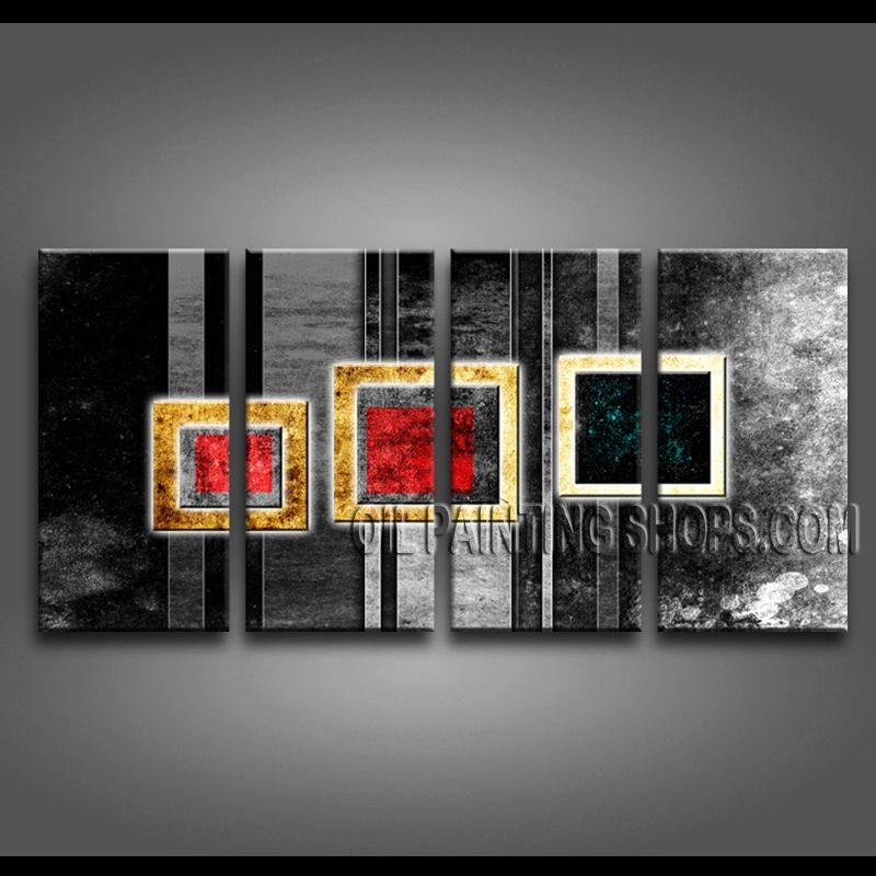 Stunning Modern Abstract Painting High Quality Oil Painting Gallery Stretched Abstract. This 4 panels canvas wall art is hand painted by Bo Yi Art Studio, instock - $155. To see more, visit OilPaintingShops.com