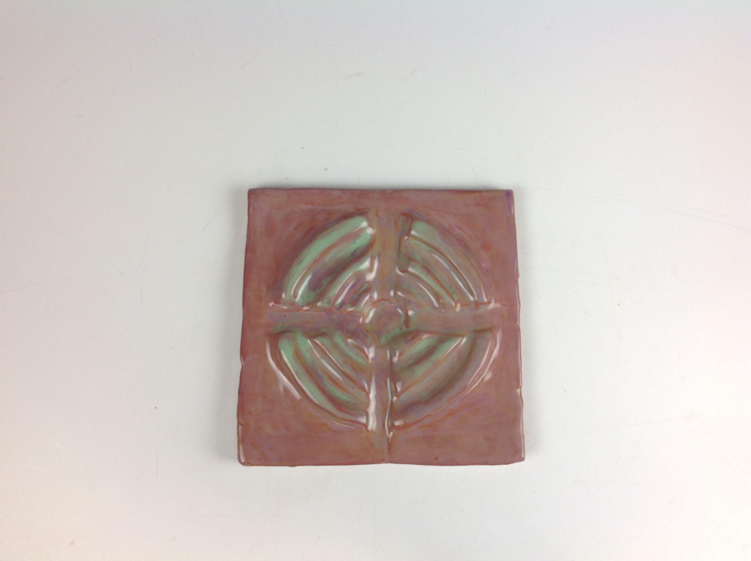 Glazed relief tile