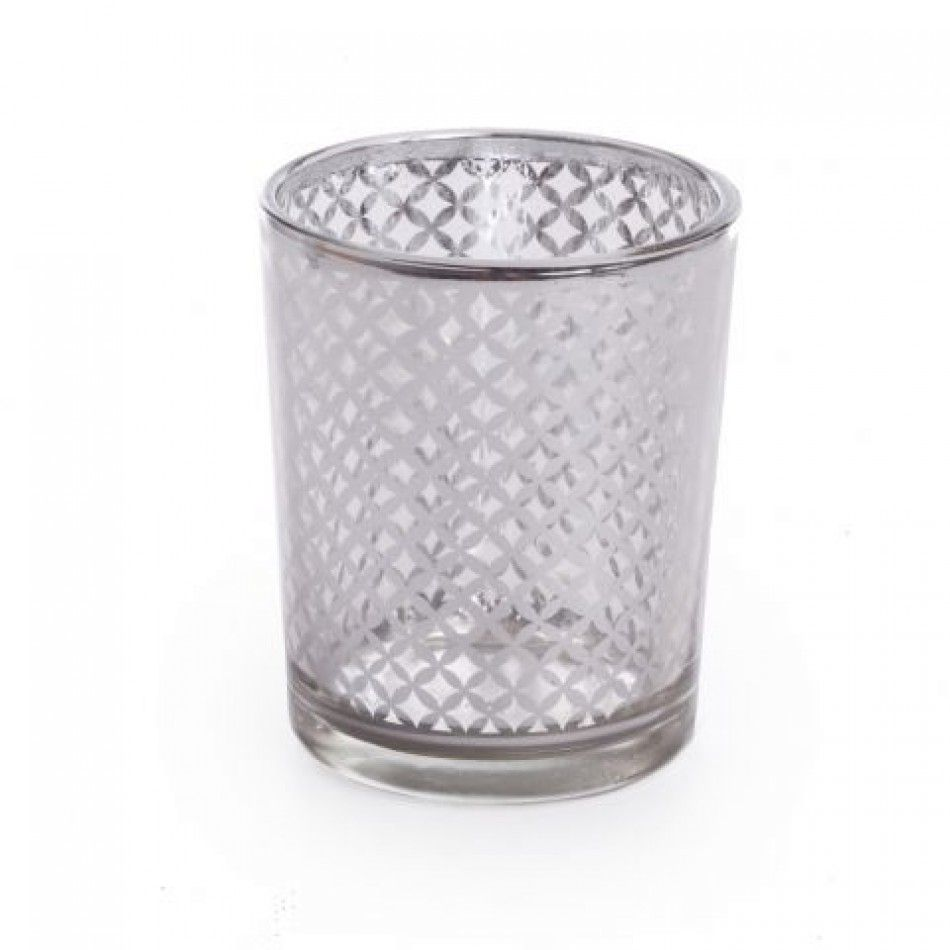Glass Votive Candle Holders - 2.5 Lattice Silver Votive Holders [758 ...