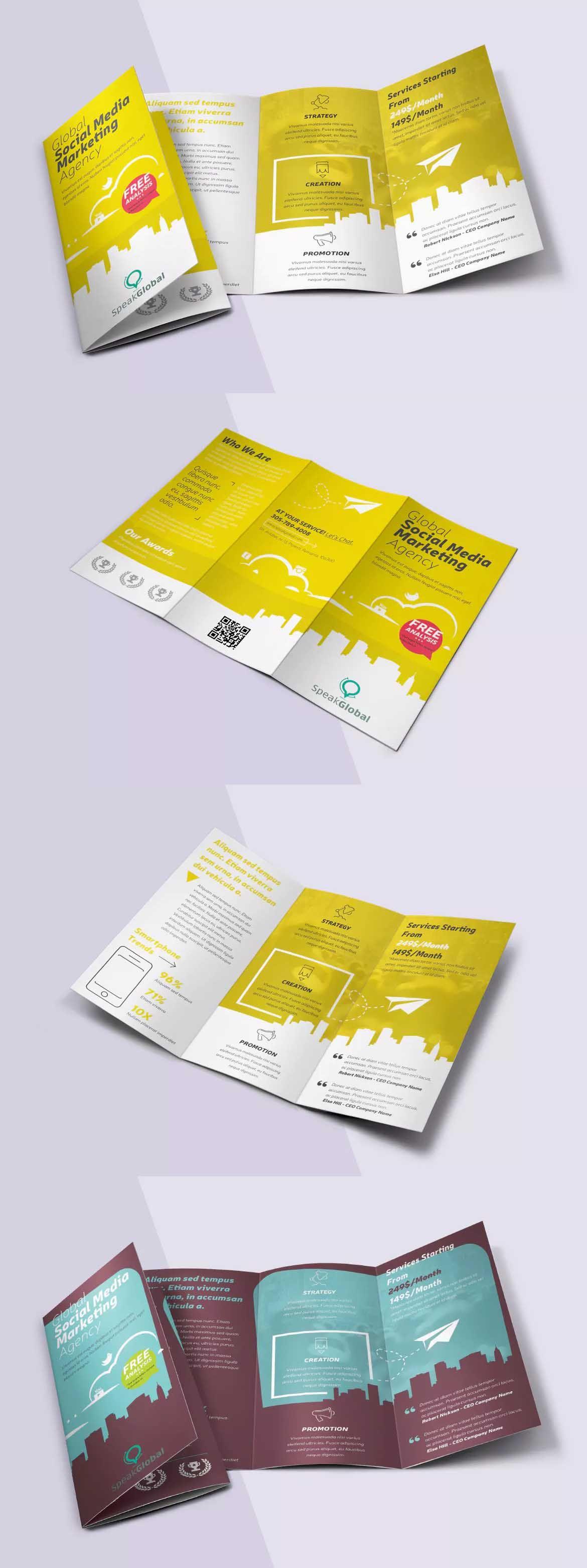 Social Media Trifold Brochure Template PSD A And US Letter - A4 tri fold brochure template