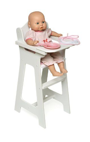 Good Badger Basket Doll High Chair With Plate Bib And Spoon   Pink/White