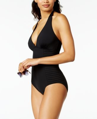 1ffeb24769 Calvin Klein Side-Pleated Halter One-Piece Swimsuit,Created for Macy's Style
