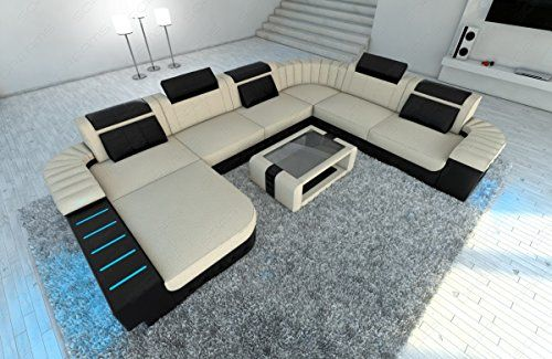 Modern Fabric Sofa Bellagio Xxl With Led Lights Click Image To