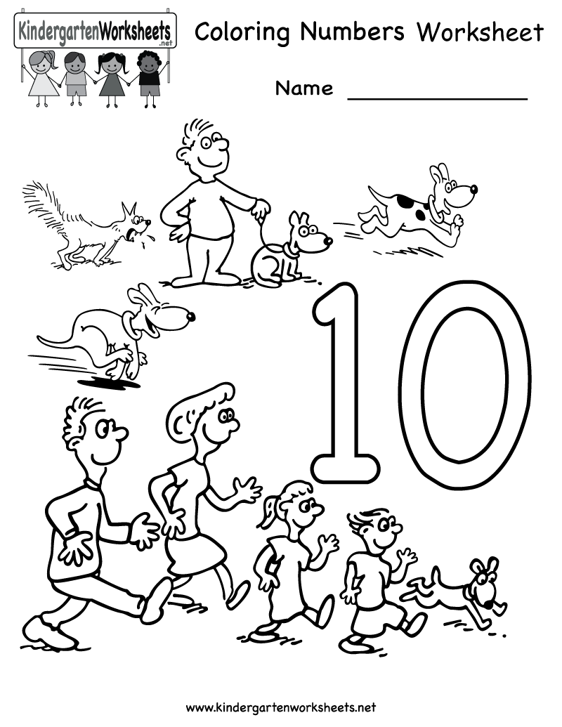 Kindergarten Coloring Numbers Worksheet Printable | Worksheets ...