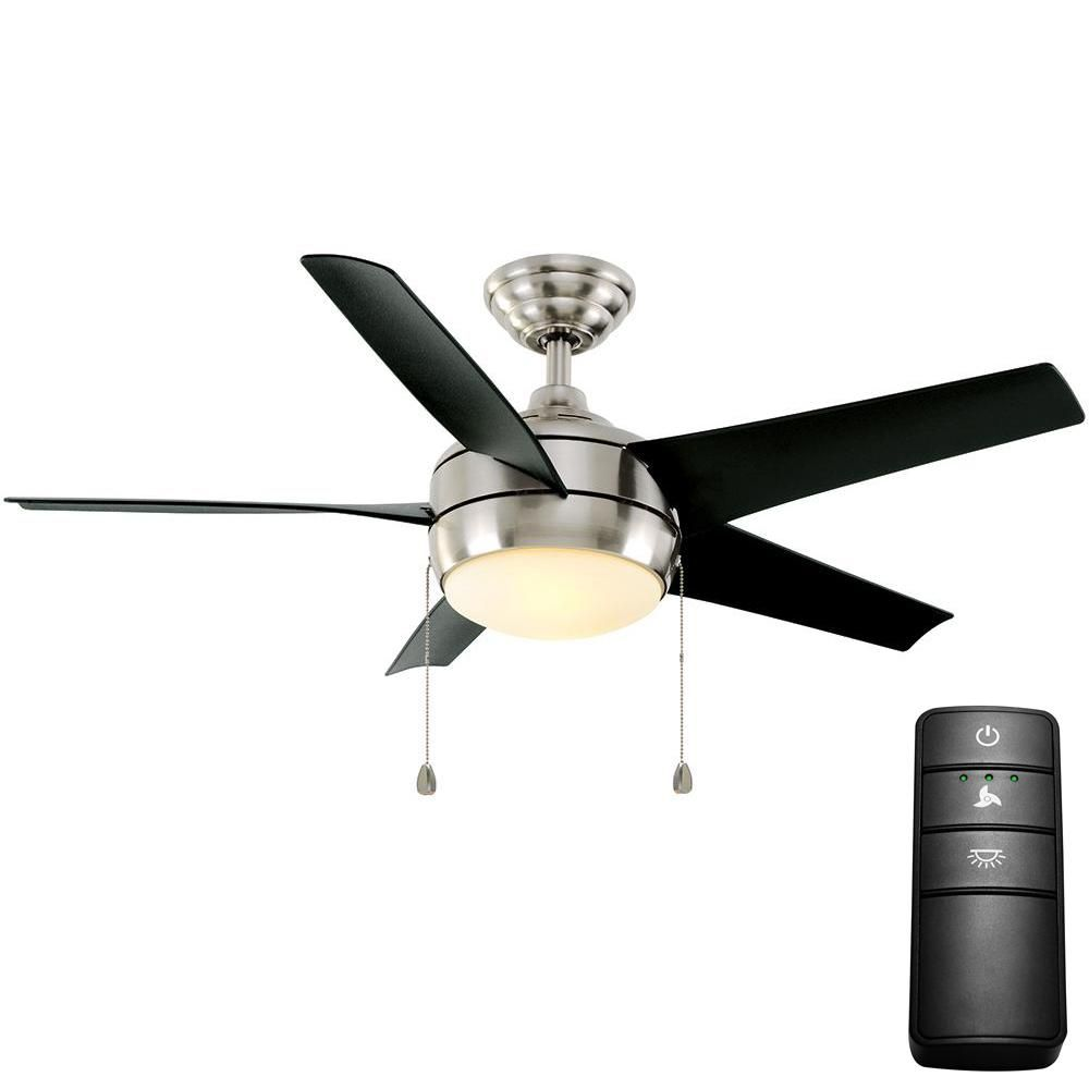 Home Decorators Collection Windward 44 In Led Brushed Nickel Ceiling Fan With Light Kit And Remote Control Ceiling Fan Brushed Nickel Ceiling Fan Blue Ceilings