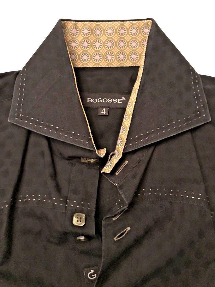 Bogosse long sleeve large size 4 double button up black shirt french bogosse long sleeve large size 4 double button up black shirt french cuff gumiabroncs Images