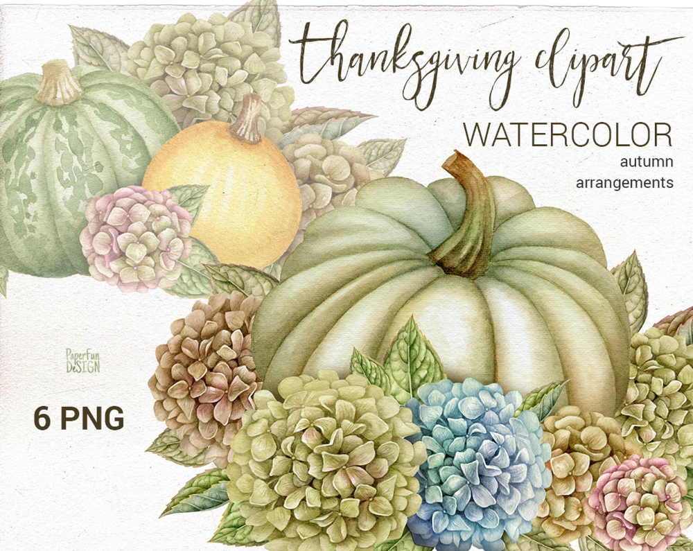 Watercolor Harvest clipart. Hand painted Thanksgiving ...