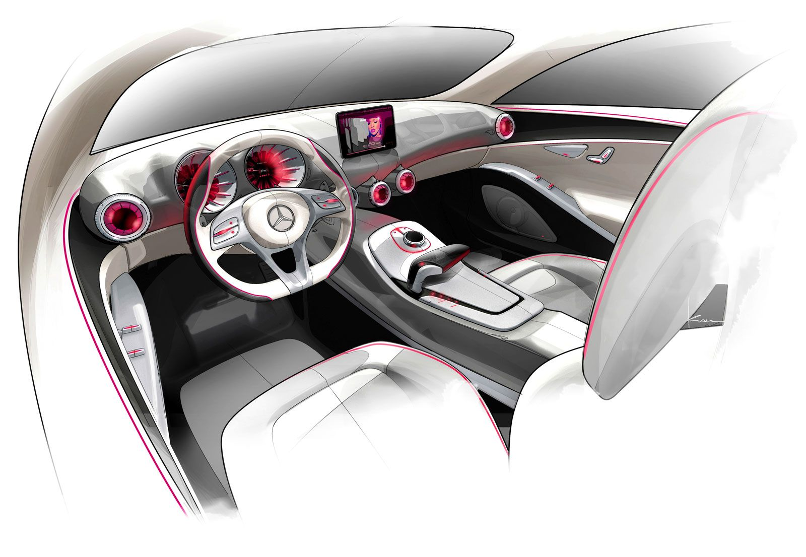Mercedes Benz Concept A Class Interior Design Sketch 인테리어