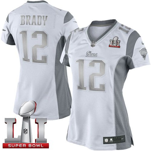 Nike Patriots  12 Tom Brady White Super Bowl LI 51 Women s Stitched NFL  Limited Platinum Jersey And  Marcus Peters jersey ee5a486ebf