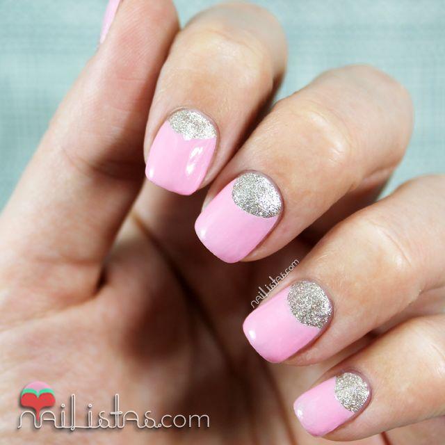 Half Moon Nails In Pink And Silver Unas Decoradas Con Medias Lunas