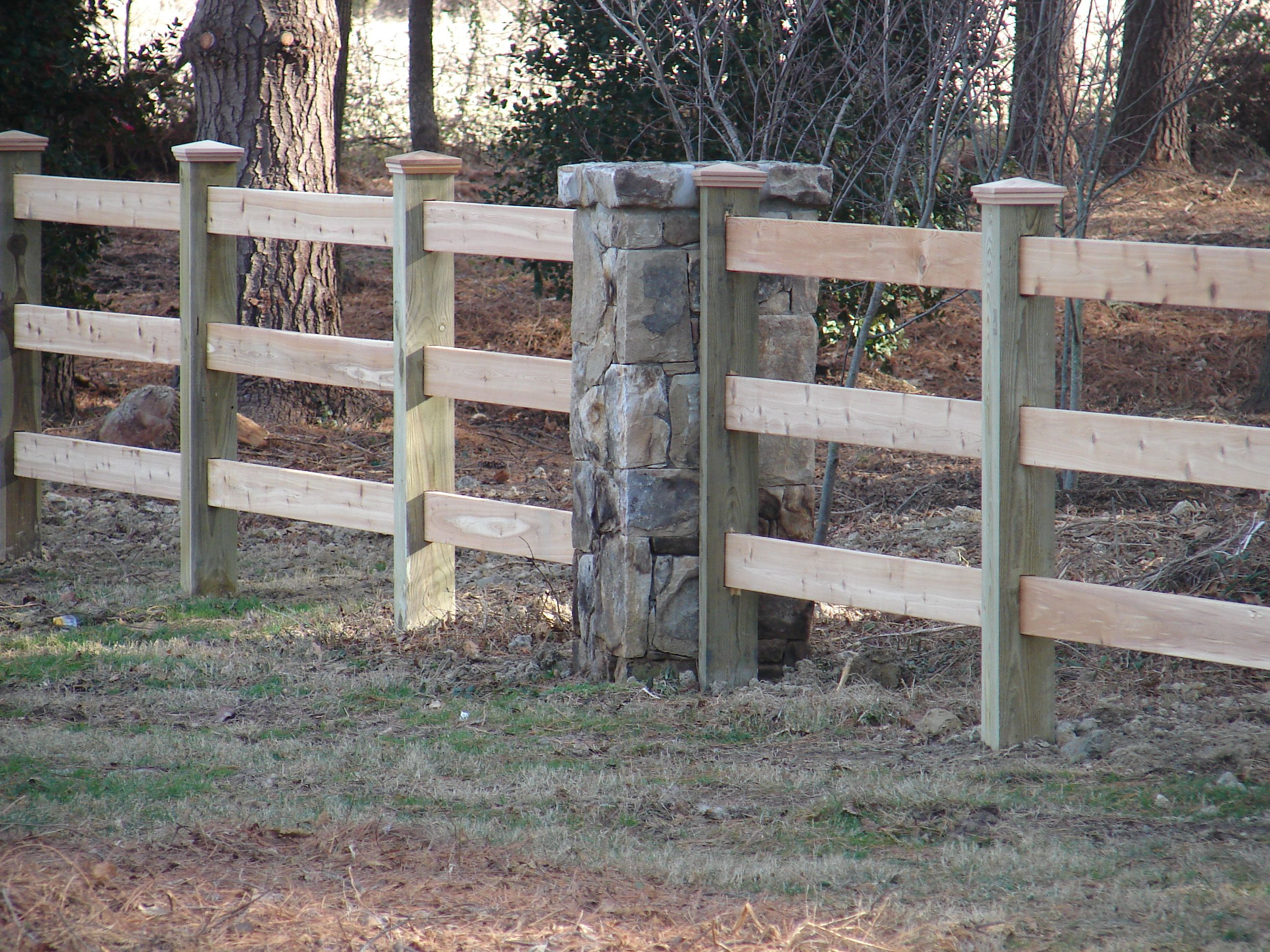 Wood 3 Board Paddock Fence With Stone Pillar Backyard Porch Fence Stone Pillars