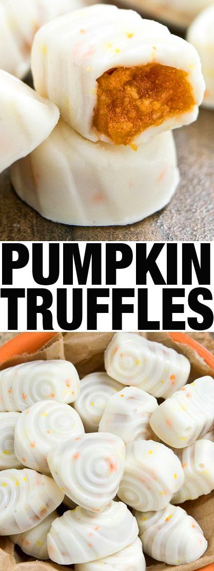 Quick and easy PUMPKIN TRUFFLES recipe for for Fall or Thanksgiving parties. They are fudgy and packed with spicy pumpkin flavor. From cakewhiz.com