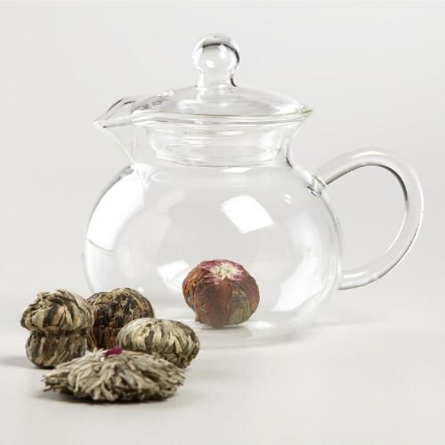 Numi Glass Teapot and Flowering Tea - DETAILS & DIMENSIONS Numi Glass Teapot is handblown Brews 18 oz. of tea Includes strainer; remove strainer after steeping tea Explore our assortment of Coffee Makers, Tea Kettles and more Made in United States