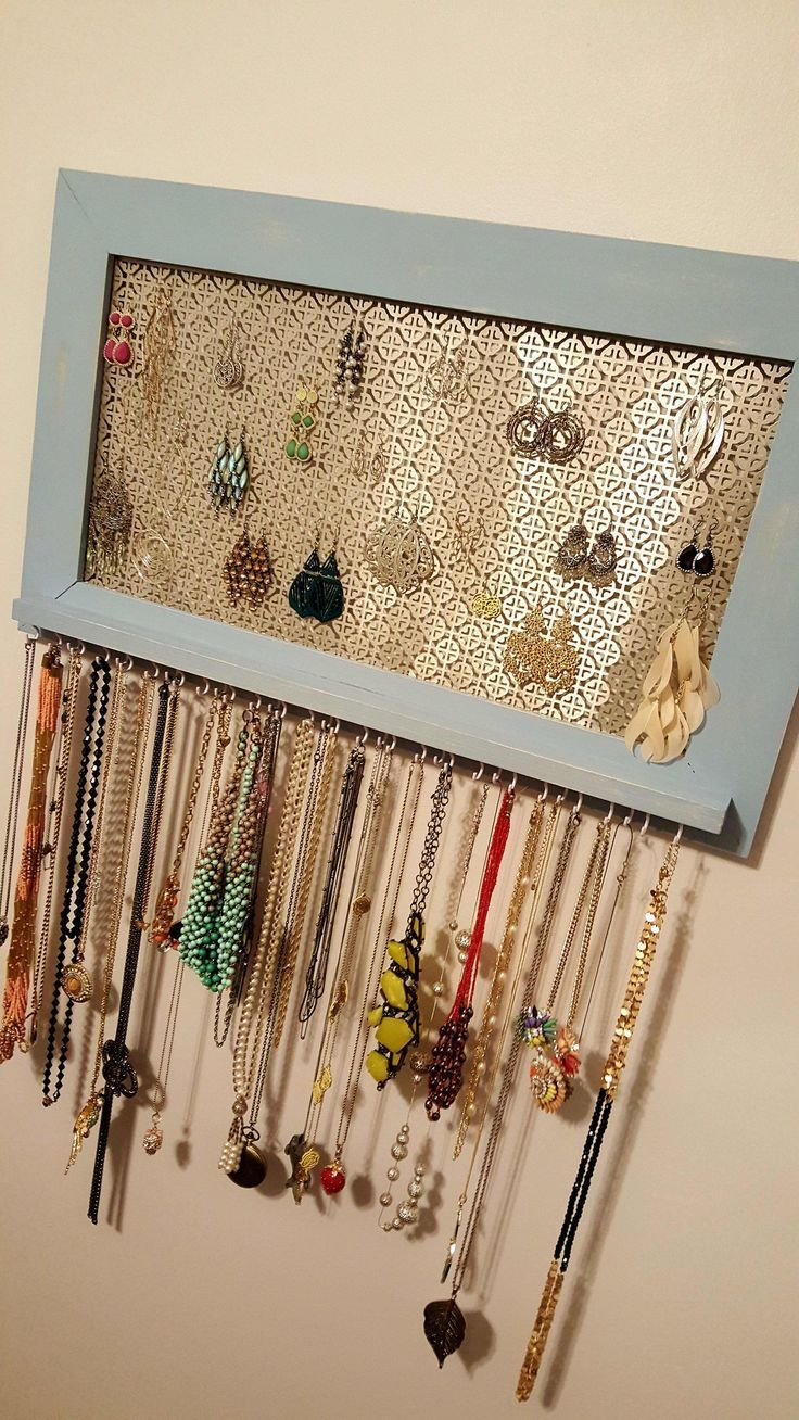 My wife got tired of her old jewelry box making a tangled mess out of her necklaces and earrings, so we made this framed organizer. -  Imgur Post – Imgur  - #box #diamondrings #diyjewelryideas #earrings #framed #jewelry #making #mess #necklaces #organizer #tangled #tired #Wife