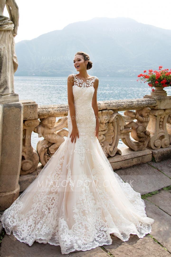 0e5f3a8f8e94 Chic Vintage Lace Appliques Long Blush Mermaid Wedding Dress | Weddings