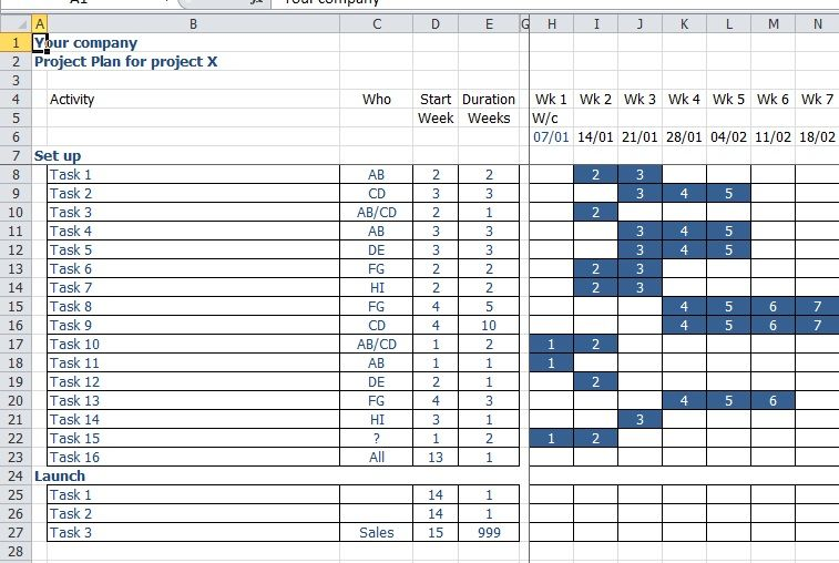 Project Planning Template In Excel  Small Business