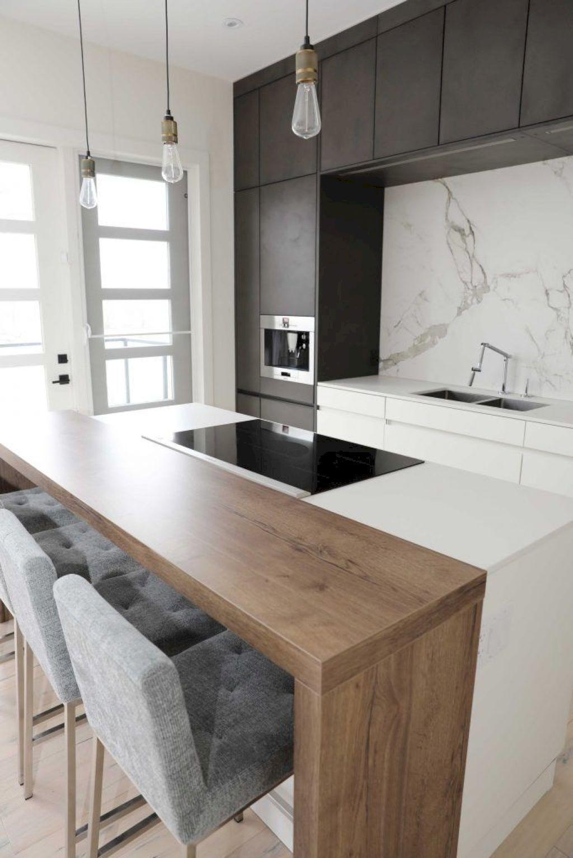Barra de madera en forma de u cocinas cocinas modernas for Cocina pequena en forma de u con barra