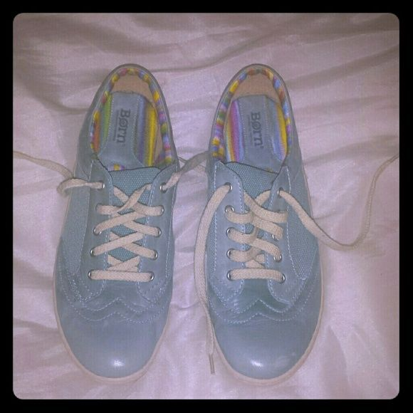 Born casual sneakers Light blue canvas sides with leather toe and heel area. Multi colored striped interior with cream soles. Very light wear. Born Shoes Athletic Shoes
