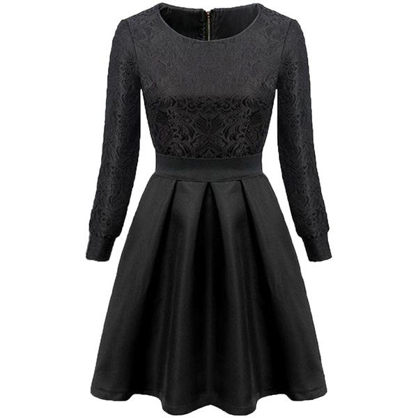 Black Elegant Womens Vintage Floral Slim Crew Neck Skater Dress (£29) ❤ liked on Polyvore featuring dresses, black, floral printed dress, vintage skater dress, slimming dresses, floral print skater dress and flower print skater dress