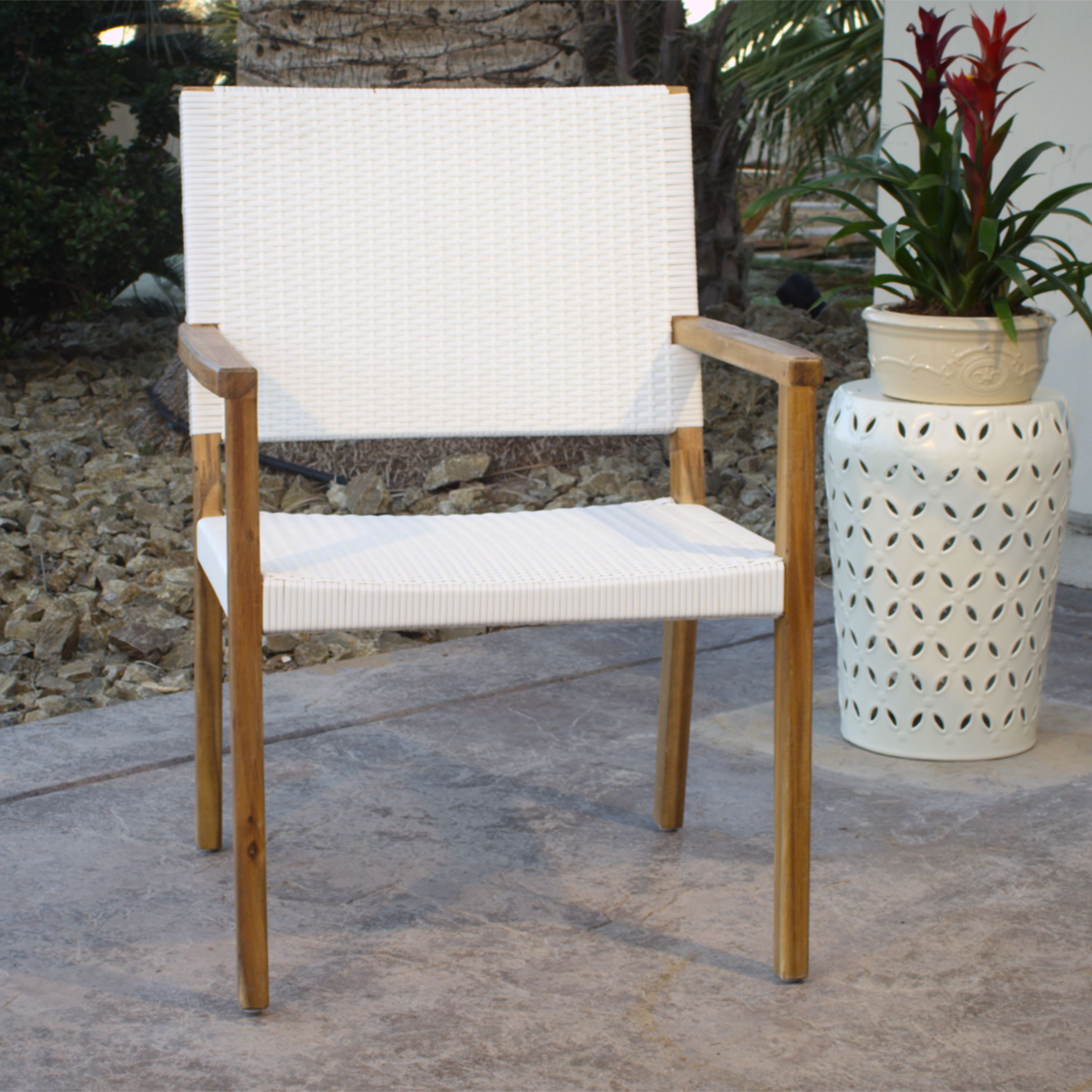 Attractive Combining Woven White All Weather Wicker And Acacia Wood, Our Chair  Captures The Casual Luxury Found On The Coasts Of Italy.
