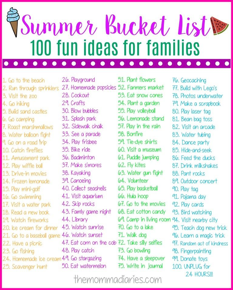 Summer Bucket List - 100 Fun Ideas for Families #summerfunideasforkids