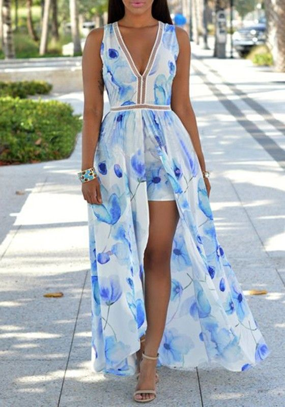 d3c9d91e120 Light Blue Floral Print V-neck Plunging Neckline Backless Swallowtail Maxi  Chiffon Romper with Maxi Overlay