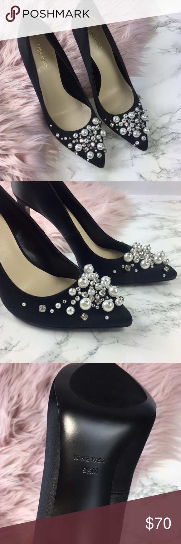 cee6a86e9d1e NEW Nine West Taylin black pointed toe pearl heels NWOT Never Worn ...