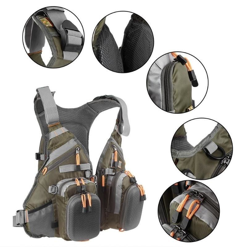 Adjustable Fishing Vest Jacket With Many Pockets Backpack For