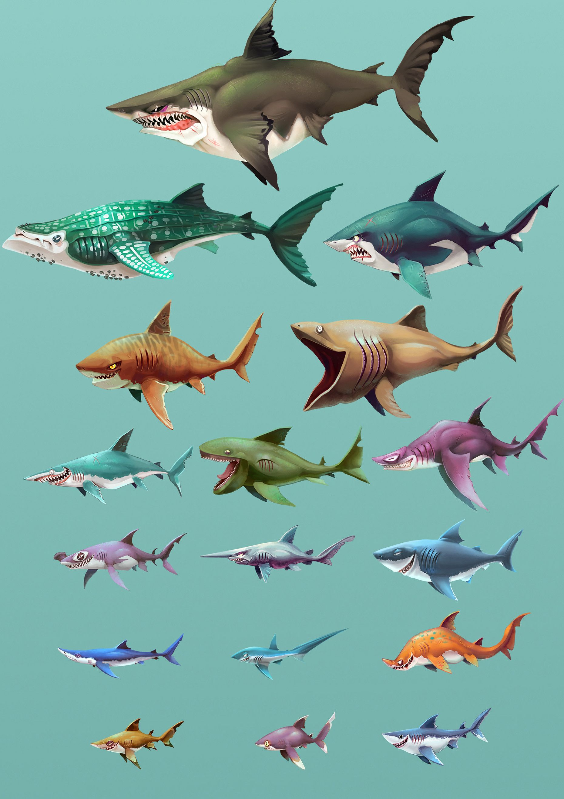 ArtStation - Hungry Shark World - Playable Character Concepts, Johanna  Cranston | Shark illustration, Shark art, Shark