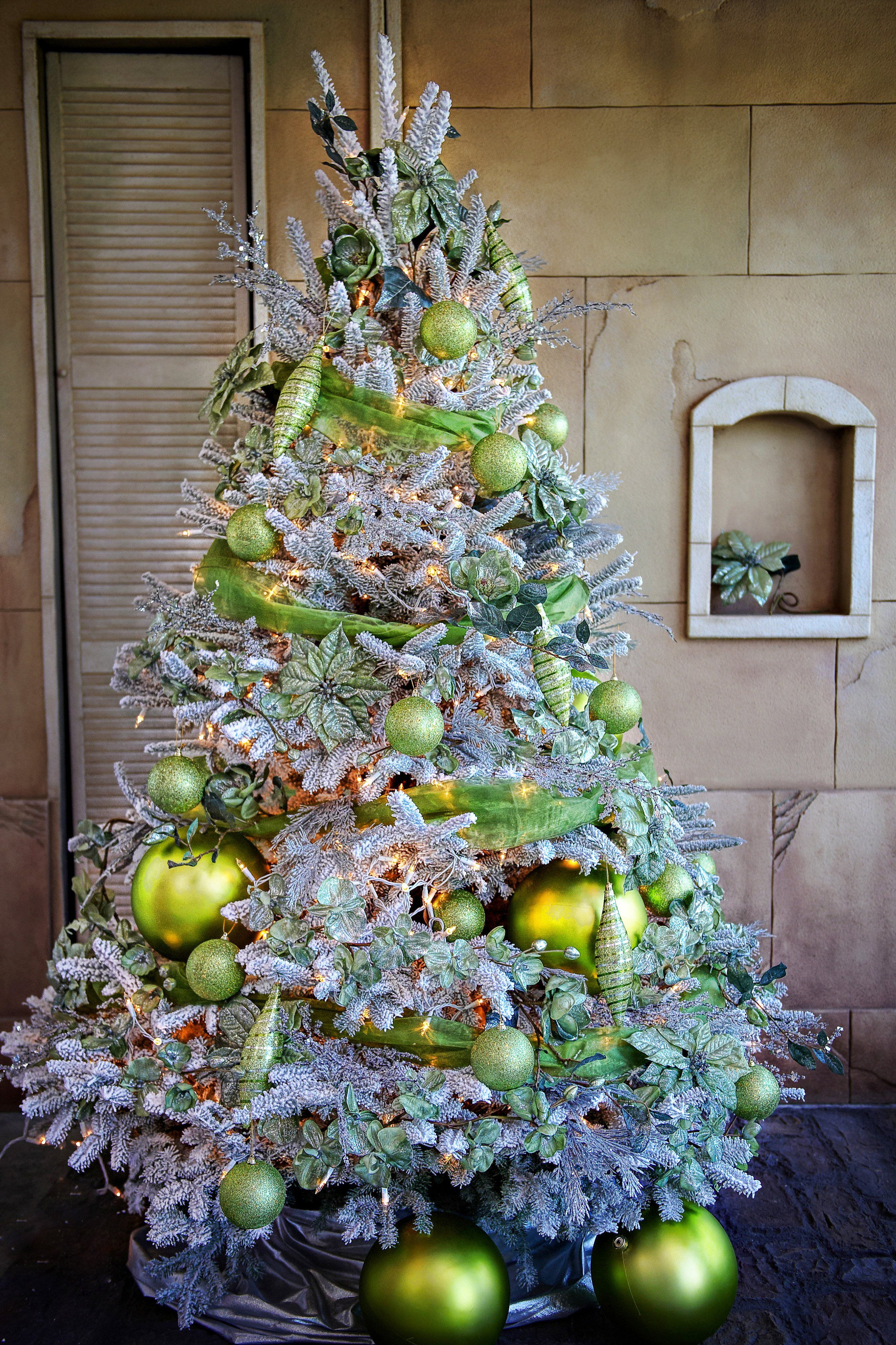 Flocked Tree With Lime Green Ornaments Most Wonderful Time Of The