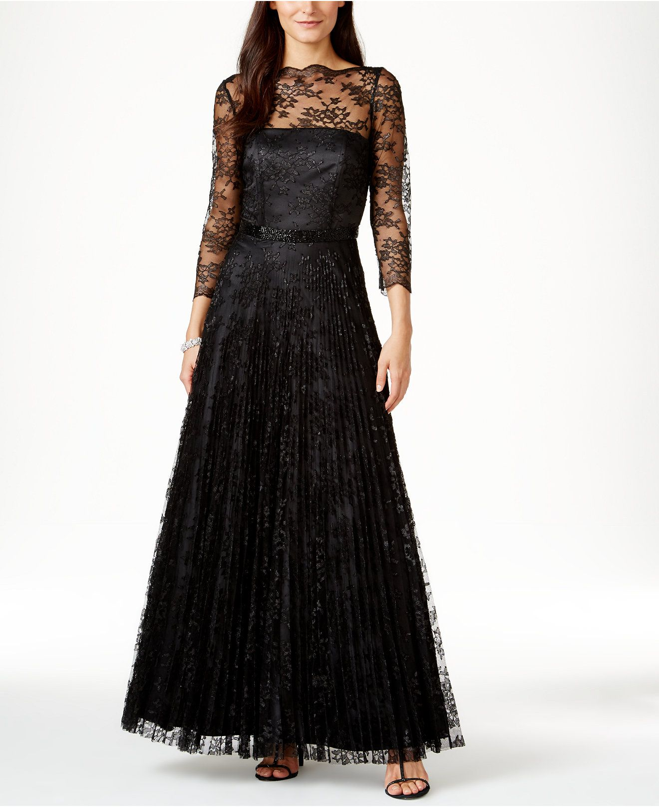 Tahari Asl Illusion Lace Beaded Gown Dresses Women Macy S Black Lace Evening Gown Evening Dresses With Sleeves Beaded Evening Gowns [ 1616 x 1320 Pixel ]