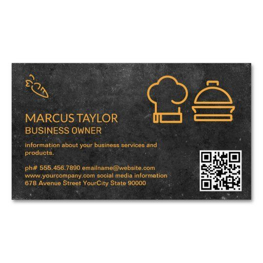 Catering Service Qr Code Business Card Magnet Zazzle Com In 2021 Qr Code Business Card Magnetic Business Cards Standard Business Card Size