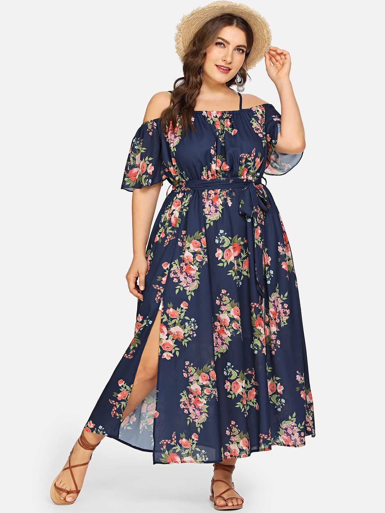 68241c315c Plus Off Shoulder Self Belted Floral Dress | MakeMeChic.COM in 2019 ...
