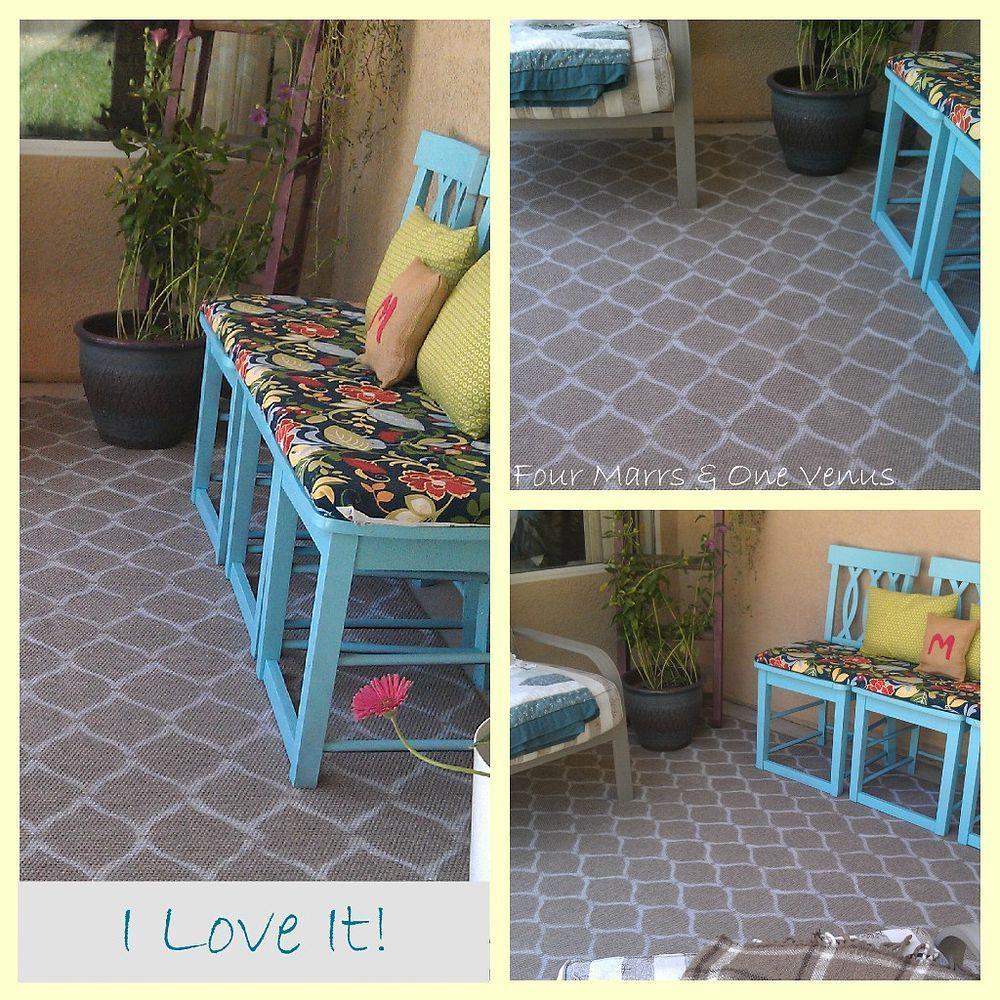 DIY Stenciled Outdoor/Indoor Rug | Stencil diy, Stencil ...