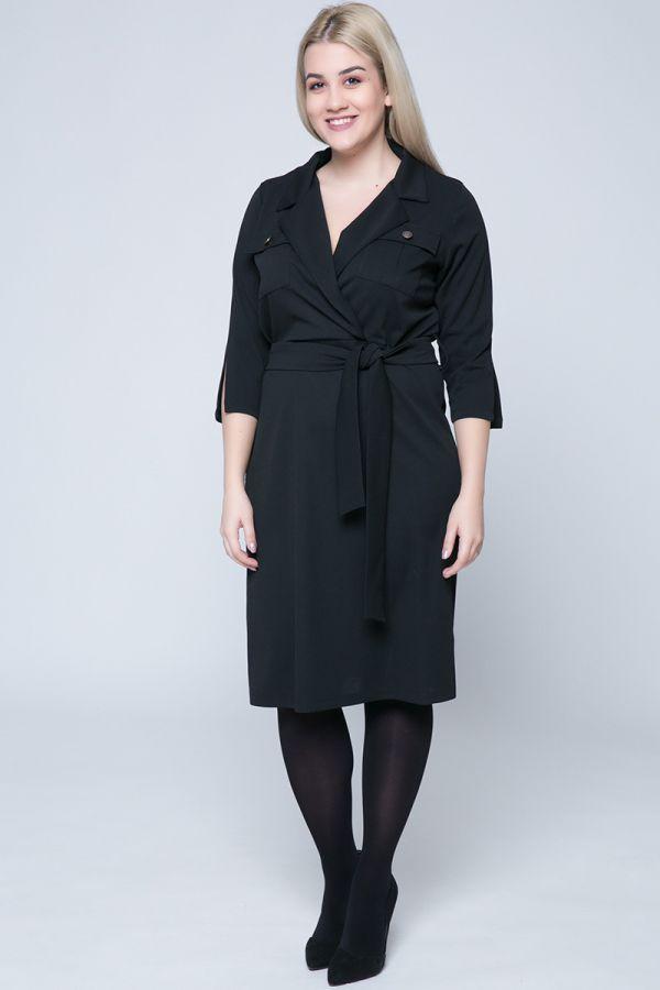 f81ce40390ca Midi φόρεμα κρουαζέ με τσέπες και κουμπιά σε μαύρο χρώμα