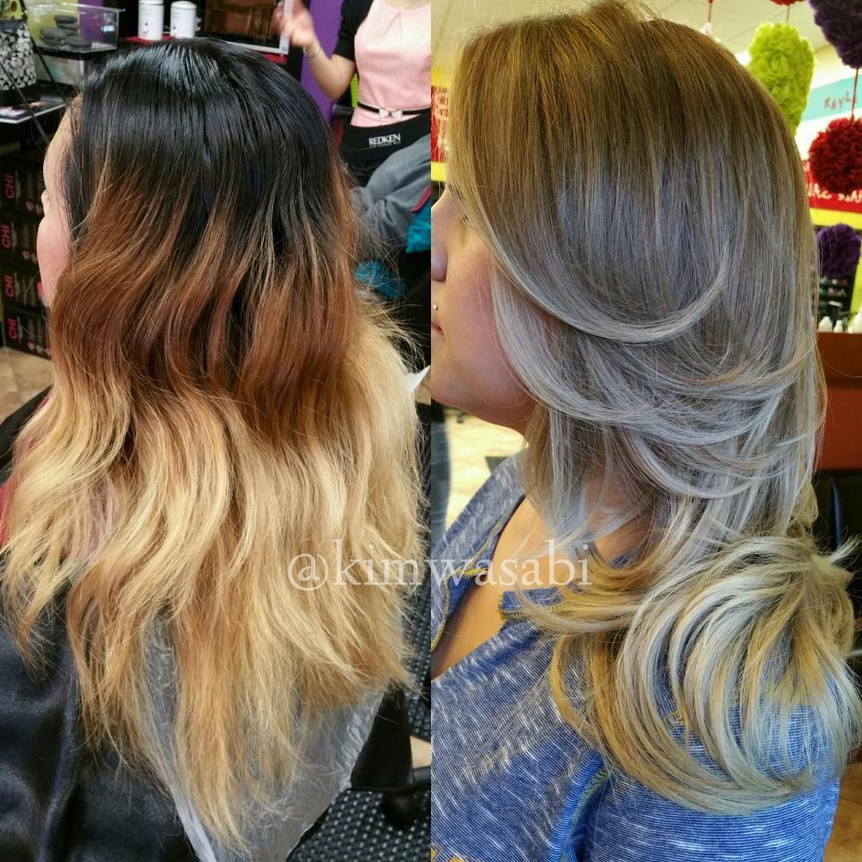 Color Correction A Mess To Gorgeous Blonde Ash Sombre Color Correction Hair Short Hair Balayage Balayage Hair