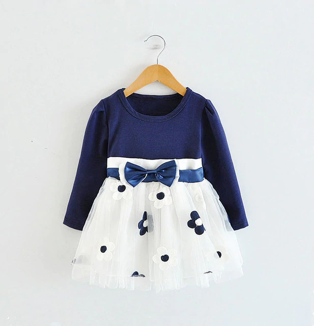 Summer Infant Baby Girls Fly Sleeve Bow Solid Print Dress Clothes Casual Dresses