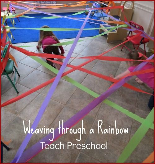 The weaving through a rainbow activity after reading Don Freeman's book A Rainbow of My Own provides for active engagement and probably some motor challenges. Clear some space and let the fun times begin!