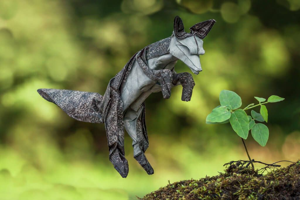 Photo of Summer Arctic Fox, Designed and Folded by FoldedWilderness