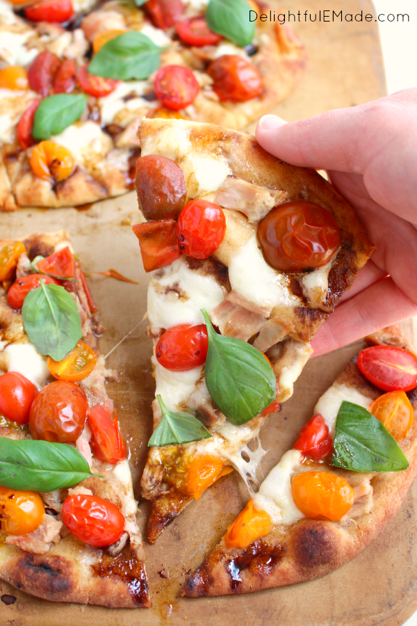 If you like the amazing flavors of fresh tomatoes, mozzarella and basil, then you'll LOVE this pizza.  Made on Naan bread, and topped with chicken and all your Caprese favorites, this pizza is the ultimate in flavor and freshness!